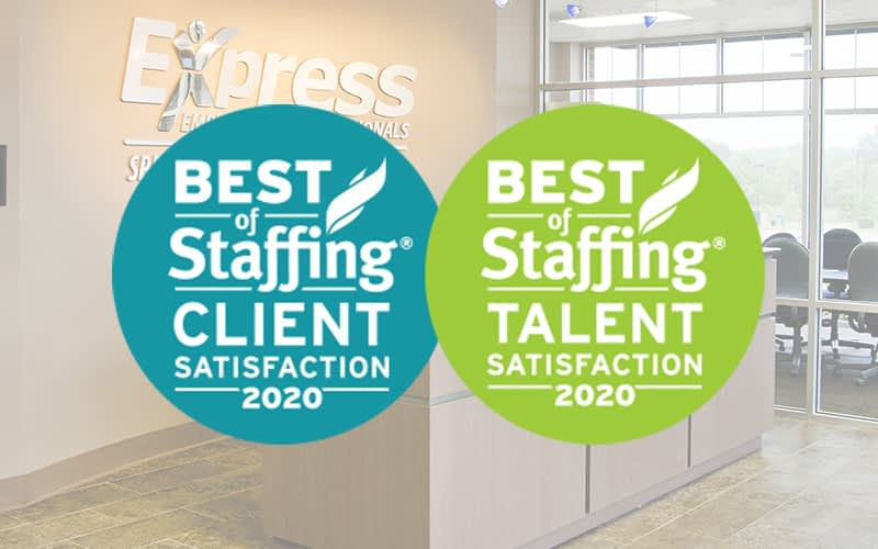 """Best of Staffing: Client and Talen Satisfaction"" logos superimposed on interior Express office shot"