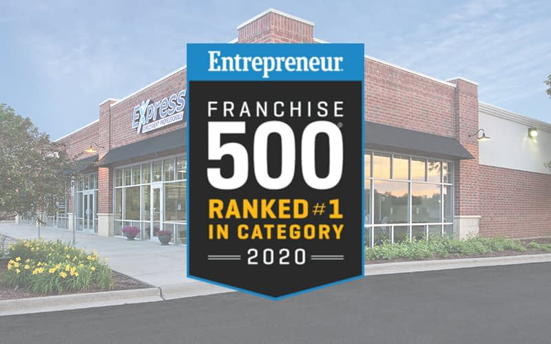 Entrepreneur Franchise 500 #1 in category award superimposed over an exterior Express location image